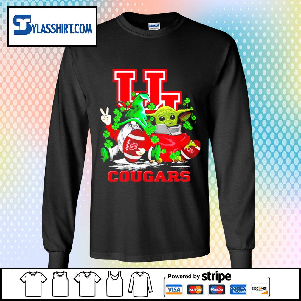 St.Patrick's day Gnome and Baby Yoda Houston Cougars s longsleeve-tee