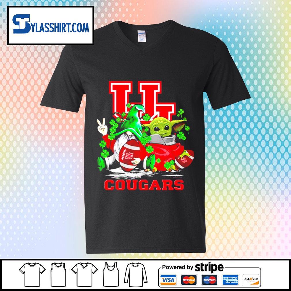 St.Patrick's day Gnome and Baby Yoda Houston Cougars s v-neck t-shirt