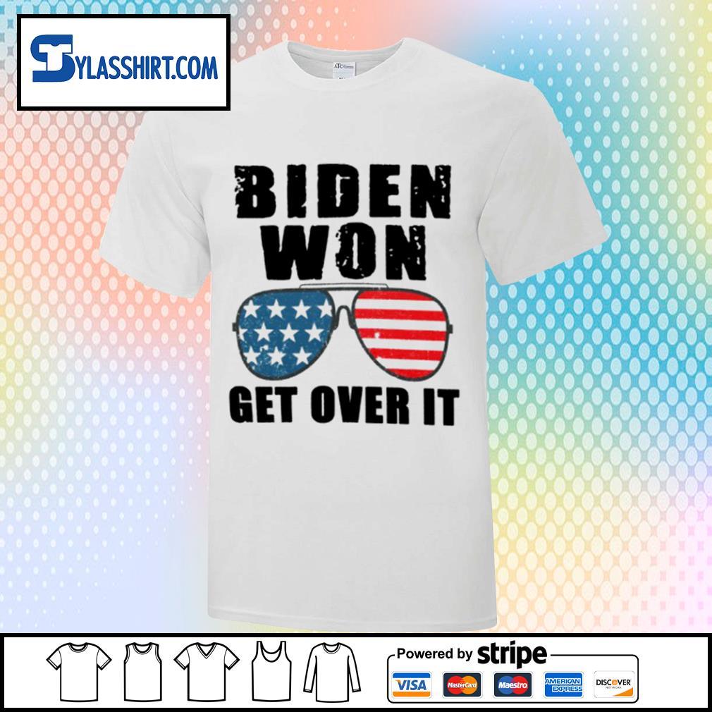 Biden won get over tt glass American flag shirt