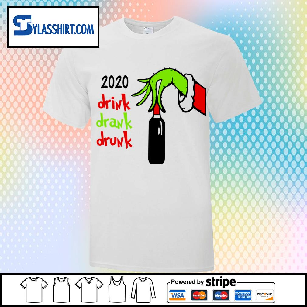 Grinch hand wine 2020 drink drank drunk Christmas shirt, sweater